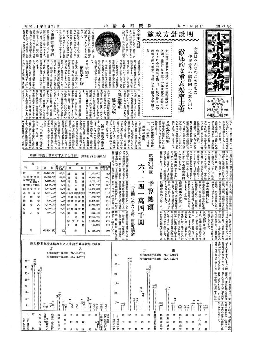 広報こしみず昭和31年3月28日号の表紙画像