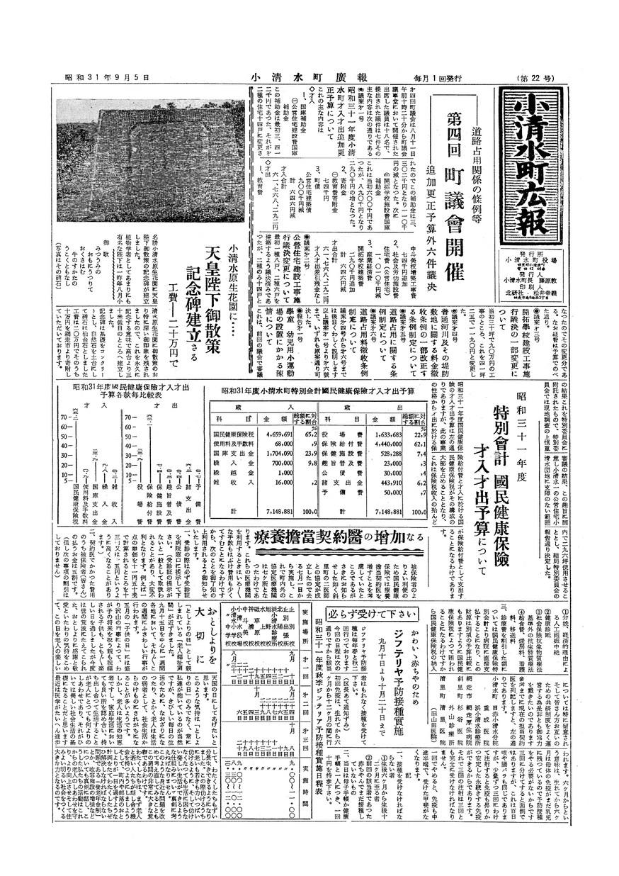 広報こしみず昭和31年9月号の表紙画像