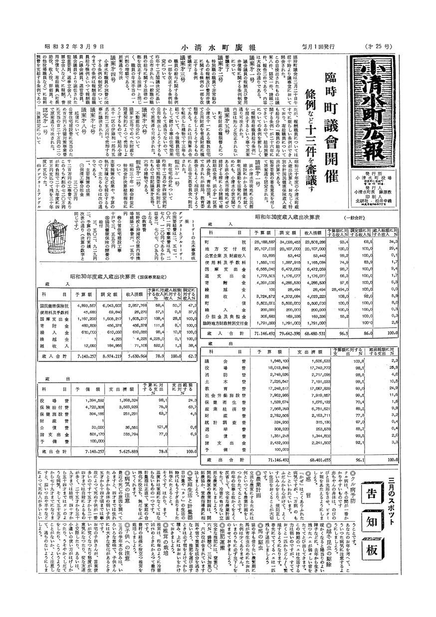 広報こしみず昭和32年3月号の表紙画像
