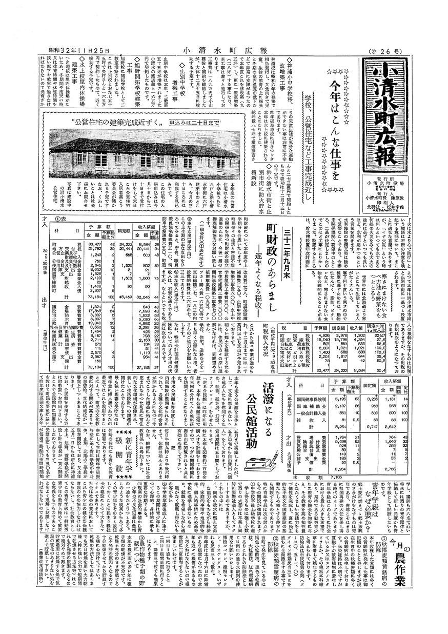 広報こしみず昭和32年11月号の表紙画像