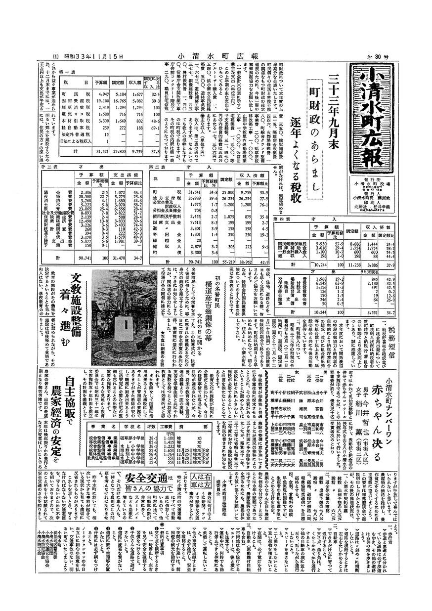 広報こしみず昭和33年11月号の表紙画像