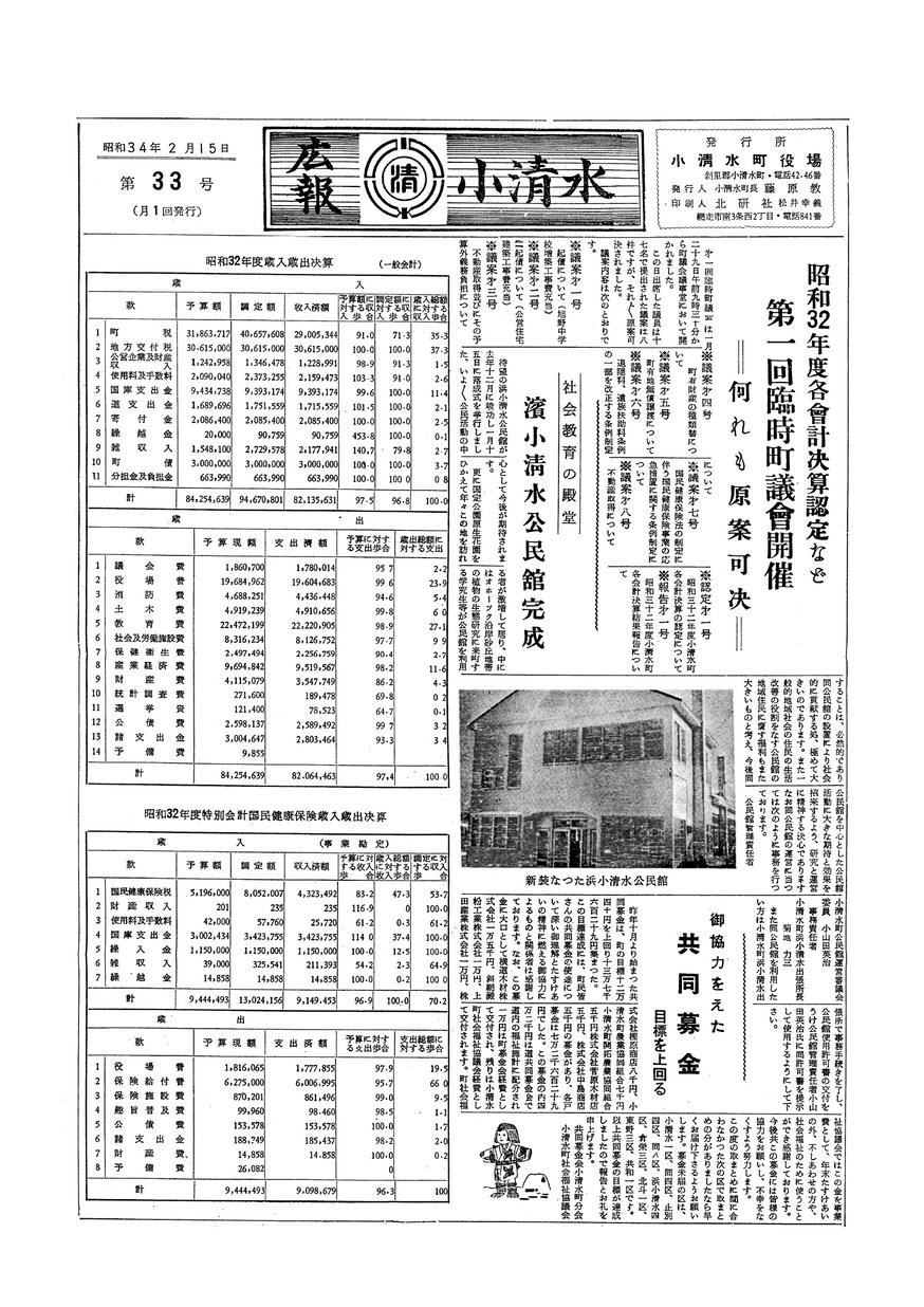 広報こしみず昭和34年2月号の表紙画像