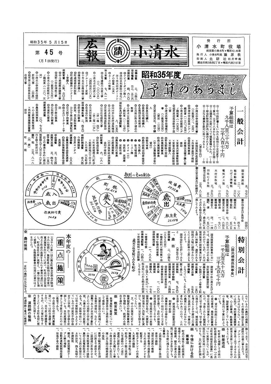 広報こしみず昭和35年5月号の表紙画像
